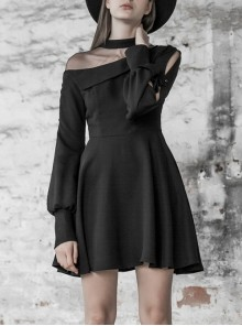 Steam Punk Female Black Mesh Stitching High Waist Pleated Dress