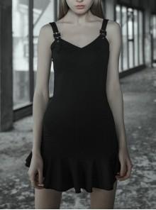 Steam Punk Female Lotus Leaf Hem Strap Elastic Dress