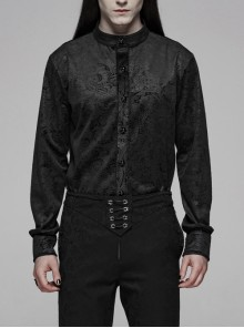 Stand-Up Collar Front Gemstone Button Long Sleeve Black Gothic Print Shirt