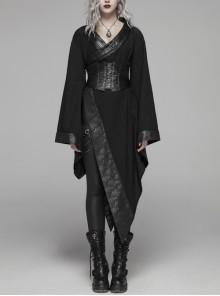 V-Neck Metal Buckle Strap Waist Lace-Up Flare Sleeve  Wave Printing Asymmetric Hem Black Punk Kimono Dress