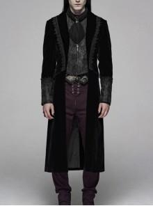 Front Splice Jacquard Metal Zipper Long Sleeve Back Waist Lace-Up Black Gothic Velvet Coat
