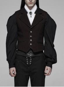 Imitation Leather Edge Collar Front Metal Button Dark Red Gothic Vest