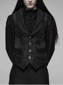 Black Jacquard Front Metal Retro Button Back Waist Metal Hasp Gothic Vest