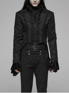 Stand-Up Collar Front Chest Paste Lace Retro Button Back Waist Lace-Up Dovetail Hem Black Gothic Jacquard Coat