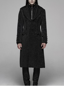 Front Button Metal Eyelets Lace-Up Long Sleeve Black Gothic Jacquard Silhouette Long Coat