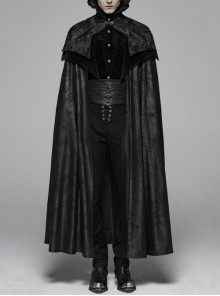 Stand-Up Collar Metal Retro Hasp Frill Hem Black Gothic Splice Imitation Horse Wool Jacquard Cloak