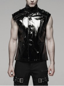 Stand-Up Collar Shoulder Hasp Front Metal Button Black Punk Woven Bright Lacquer Leather Vest