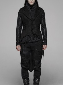 Front Button Side Metal Eyelets Strap Crumple Swallow-Tailed Hem Black Gothic Floral Sued Waistcoat