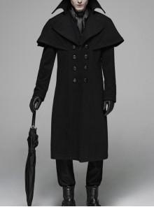 Front Metal Button Shoulder Cloak Back Waist Hasp Black Gothic Coat
