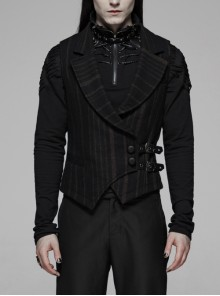 Big Collar Front Button Leather Hasp Black Punk Striped Waistcoat