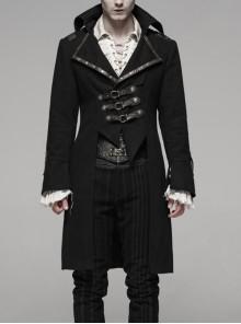 Front Metal Ring Brown Leather Hasp Front Irregular Hem Black Punk Coat