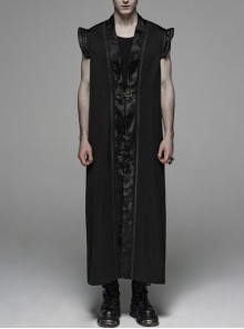 Front Chest Metal Retro Buckle Splice Print Black Gothic Chinese Style Long WaistCoat