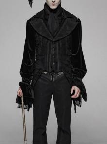 Front Metal Button Side Splice Broken Holes Mesh Sharp Corner Hem Black Gothic Stripe Vest