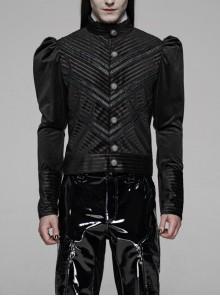High Collar Front Metal Retro Button Bubble Sleeve Black Stripe Gothic Velvet Short Shirt