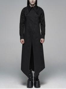 Irregular Collar Back Metal Eyelets Lace-Up Long Sleeve Black Gothic Long Shirt