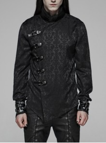 Stand-Up Collar Oblique Placket Metal Buckle Leather Hasp Cuff Black Punk Dragon Satin Jacquard Chinoiserie Shirt