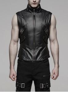 Stand-Up Collar Side Metal Rivet Leather Hasp Black Punk Vest
