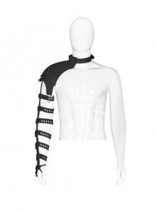 One-Shoulder Metal Rivet Strap Eyelets Lace-Up Black Punk Armlet Shoulder Accessory