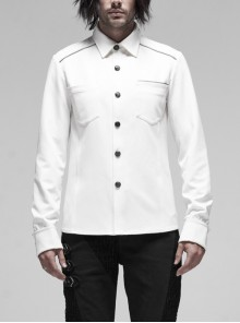 Front Metal Retro Button Intersected Metal Decoration White Punk Woven Shirt