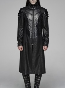 Stand-Up Collar Metal Zipper Front Chest Armor-Shape Decoration Black Punk Long Jacket