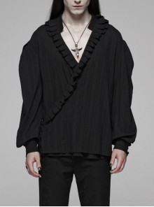 V-Neck Front Chest Frill Long Sleeve Black Gothic Floral Cotton-Linen Loose Shirt