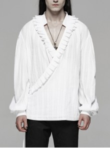 V-Neck Front Chest Frill Long Sleeve White Gothic Floral Cotton-Linen Loose Shirt