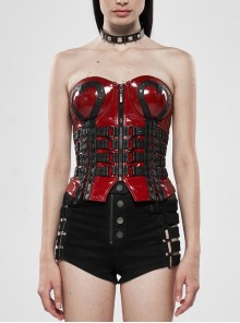 Metal Eyelets Strap Front Chest Zipper Back Waist Lace-Up Red Punk Patent Leather Corset