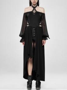 Off-Shoulder Front Chest Lace-Up Lantern Sleeve Black Punk Chiffon Halter Long Dress