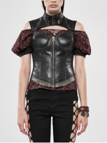 Metal Buckle High Collar Front Chest Hollow-Out Backless Back Waist Lace-Up Black Punk Spray Painting Corset