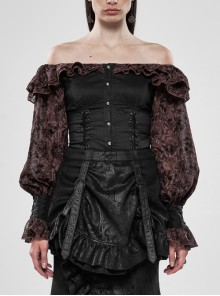 Off-Shoulder Front Chest Frill Lantern Sleeve Back Waist Lace-Up Black And Wine Red Punk Jacquard Retro Chiffon Blouse