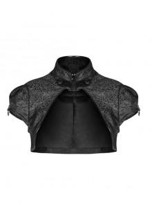 Leather Hasp High Collar Metal Rivet D-Buckle Cuff Black Gothic Jacquard Short Tops