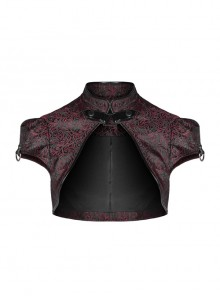 Leather Hasp High Collar Metal Rivet D-Buckle Cuff Wine Red Gothic Jacquard Short Tops