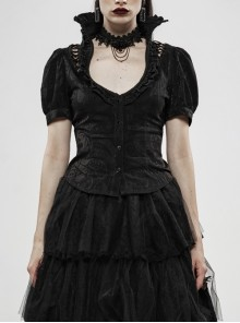 Stand-Up Collar Front Chest Frill Bubble Sleeve Shoulder Hollow-Out Strap Back Waist Lace-Up Black Gothic Light Jacquard Blouse