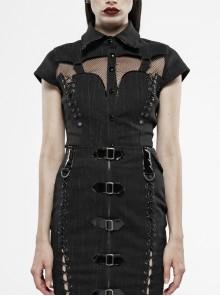 Front Chest Splice Mesh Metal Buckle Strap Short Sleeve Back Waist Lace-Up Black Punk Blouse