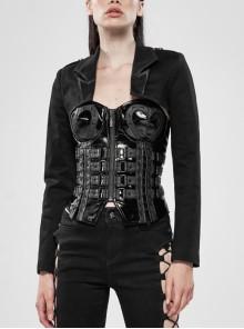 Shoulder Metal Retro Button Weave Strap Long Sleeve Black Punk Knit Short Coat