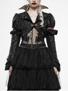 Front Retro Button Slit Lace-Up Long Sleeve Lace Cuff Black Punk Three-Dimensional Jacquard Short Coat