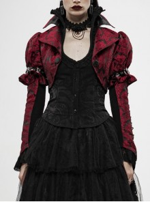 Front Retro Button Slit Lace-Up Long Sleeve Lace Cuff Red Punk Three-Dimensional Jacquard Short Coat