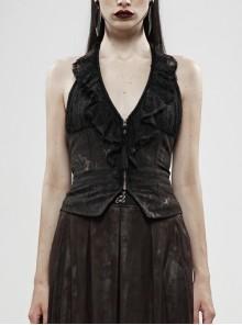 Front Chest Lace Frill Metal Zipper Back Waist Lace-Up Black Gothic Hanging Neck Vest