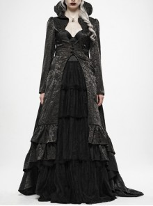 Stand-Up Collar Front Chest Hollow-Out Retro Button Back Stereo Lace Applique Black Gothic Jacquard Long Coat