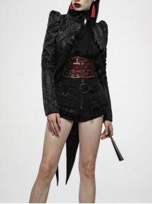 Stand-Up Collar Front Chest Frill Back Waist Lace-Up Swallowtail Hem Black Gothic Irregular Flocking Jacquard Coat