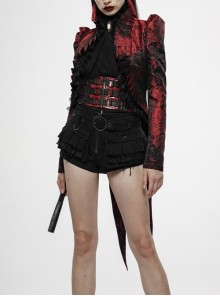 Stand-Up Collar Front Chest Frill Back Waist Lace-Up Swallowtail Hem Red Gothic Irregular Flocking Jacquard Coat