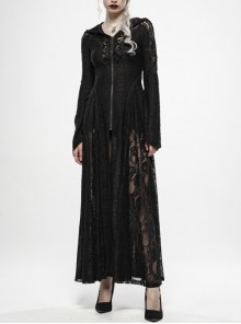Front Chest Lace-Up Metal Zipper Flare Sleeve Black Gothic Knit Splice Lace Mesh Hooded Long Coat