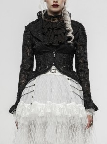 Lotus-Leaf-Side Collar Front Metal Zipper Long Sleeve Back Hollow-Out Lace-Up Black Gothic Lace Coat