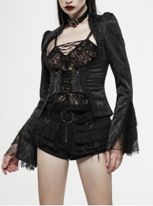 Stand-Up Collar Front Chest Waist Lace-Up Flare Sleeve Lace Cuff Black Gothic Jacquard Jacket