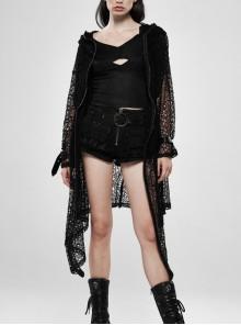 Black Long Sleeve Metal Buckle Cuff Punk Bright Knitting Mesh Hooded Women Coat