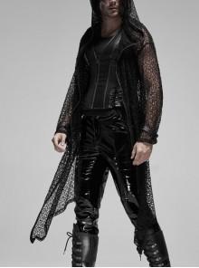 Black Long Sleeve Metal Buckle Cuff Punk Bright Knitting Mesh Hooded Men Coat