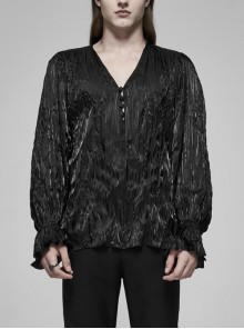 V-Neck Collar Front Chest Decoration Button Long Sleeve Flounce Cuff Black Gothic Pleated Shirt