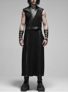 V-Neck Metal Ring Strap Metal Buckle Belt Black Punk Imitation Leather Woven Long Vest Coat