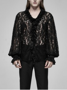 V-Neck Frill Collar Bubble Sleeve Flounce Cuff Black Gothic Transparent Lace Shirt