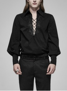 Front Chest Lace-Up Lantern Sleeve Button Cuff Black Gothic Shirt